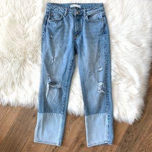 Zara Two Tone Straight Leg Jeans